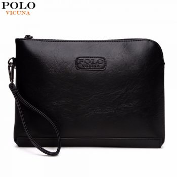 4bc3ad0d66 49% off. VICUNA POLO England Style Leather Envelope Clutches For Men High  Capacity Male Clutch With Wristbands Zipper Open Mens Wallet