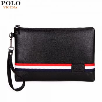e563e2087a 49% off. VICUNA POLO Fashion Classic Striped Design Men Clutch Wallet ...